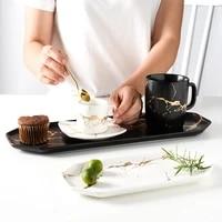 household ceramic plate rectangular western plate storage plate sushi plate gold pattern plate black and white