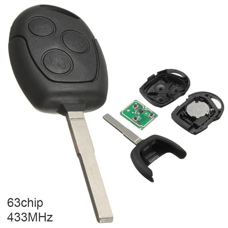 433Mhz 3 botones sin llave Flip Smart remoto Fob con 4D 63 Chip Fit para Ford Focus/Mondeo/Fushion/Galaxy/s-max 2004-2011