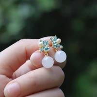 jingwei natural hetian jade earrings 925 silver carved pearl antique and ethnic style female earrings ear studs earrings