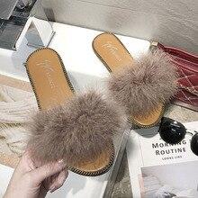 Nouveau décontracté dames pantoufles marque design en peluche femmes chaussures moelleux fausse fourrure pantoufles fourrure maison femmes pantoufles renard fourrure pantoufles