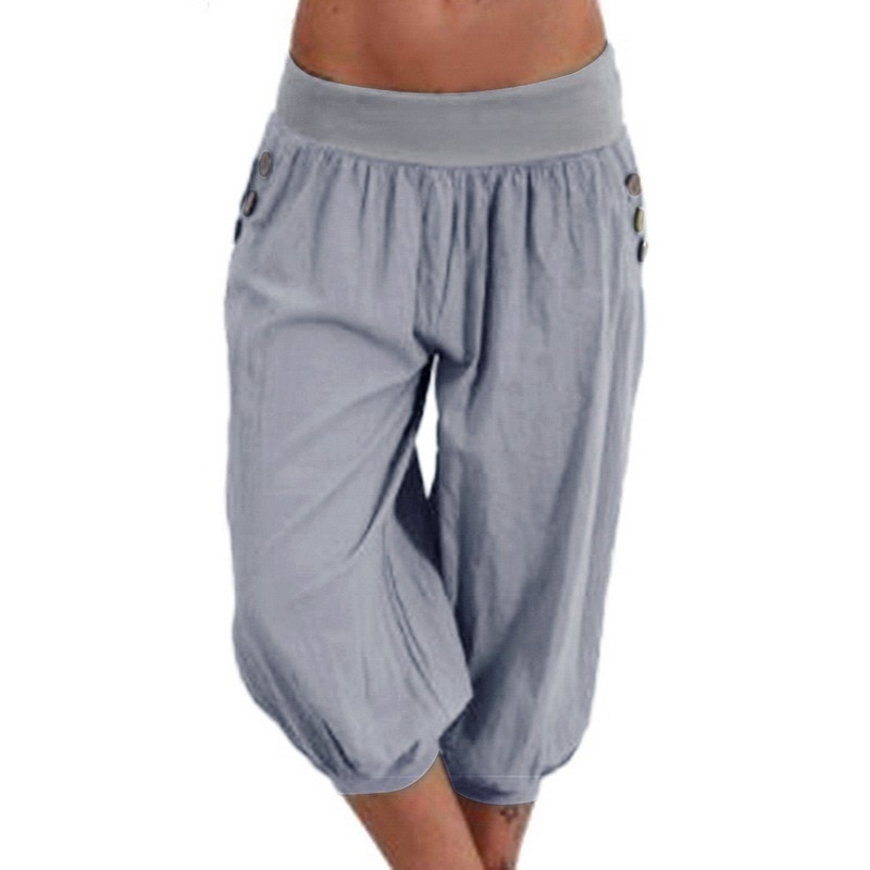 2021 Summer Casual Trousers Plus Size Casual Men's Solid Color Sequined Pleated Drawstring Capri Pants Harem Pants pants for men