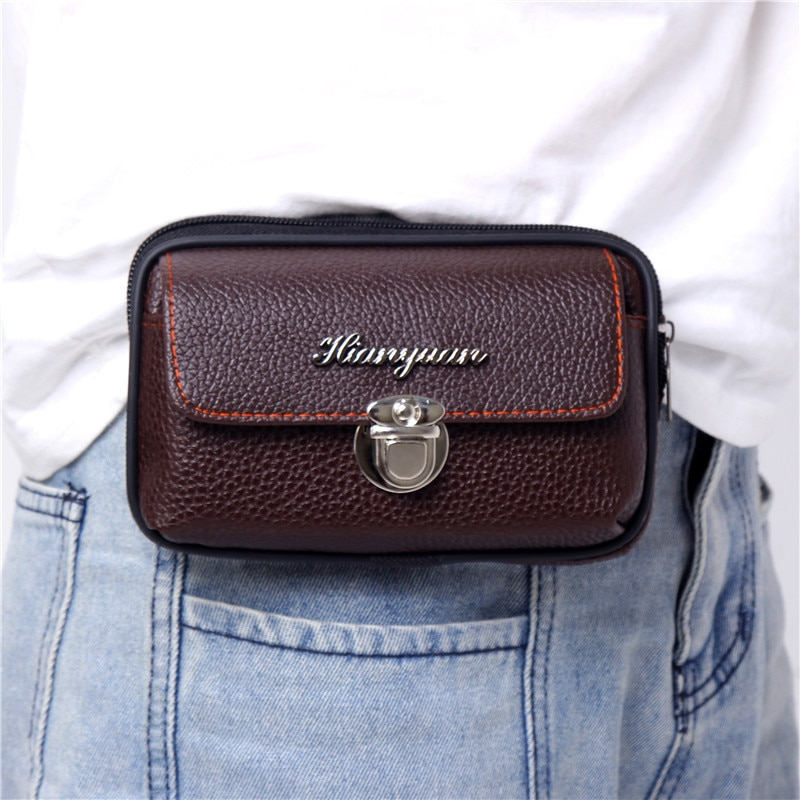 Portable Men's Fanny Waist Packs Mobile Phone Pouch Bags Soft PU Leather Sports Travel Wallet Small Coin Purse Case Belt Bum Bag luxury brand waist packs women crocodile pattern pu leather fit 5 5 inches phone funny bags ladies travel money wallet belt bag