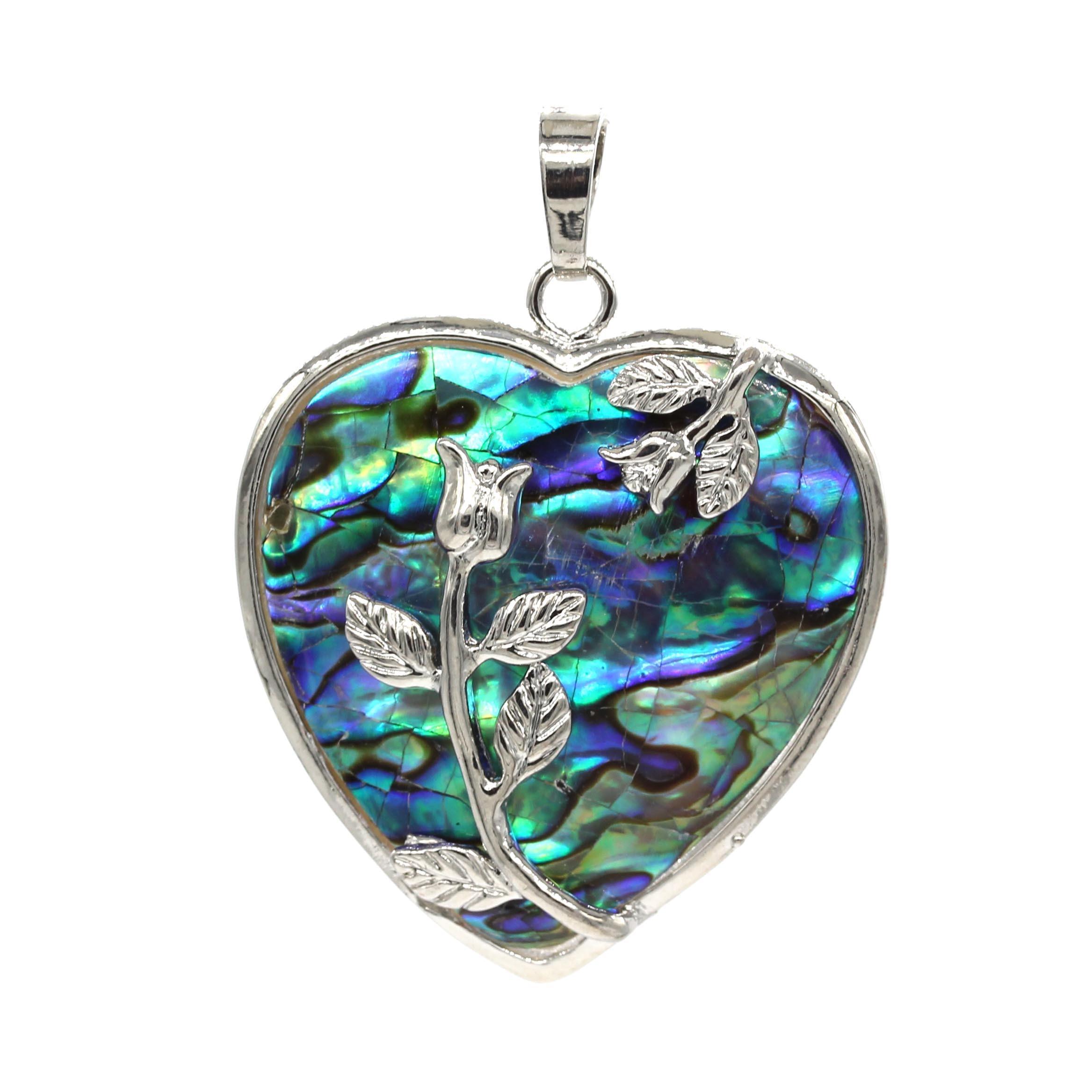 Cuentas Kraft estilo romántico Chapado en plata concha de abulón amor corazón...
