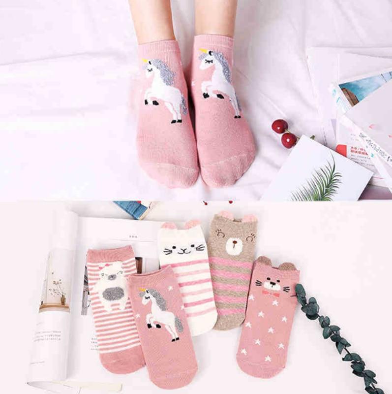5 paare/los Cartoon Unicorn Katze Lion Frauen Socken Niedlichen Tier Ohr Baumwolle Kurze Socken Mädchen Lustige Ankle Socken