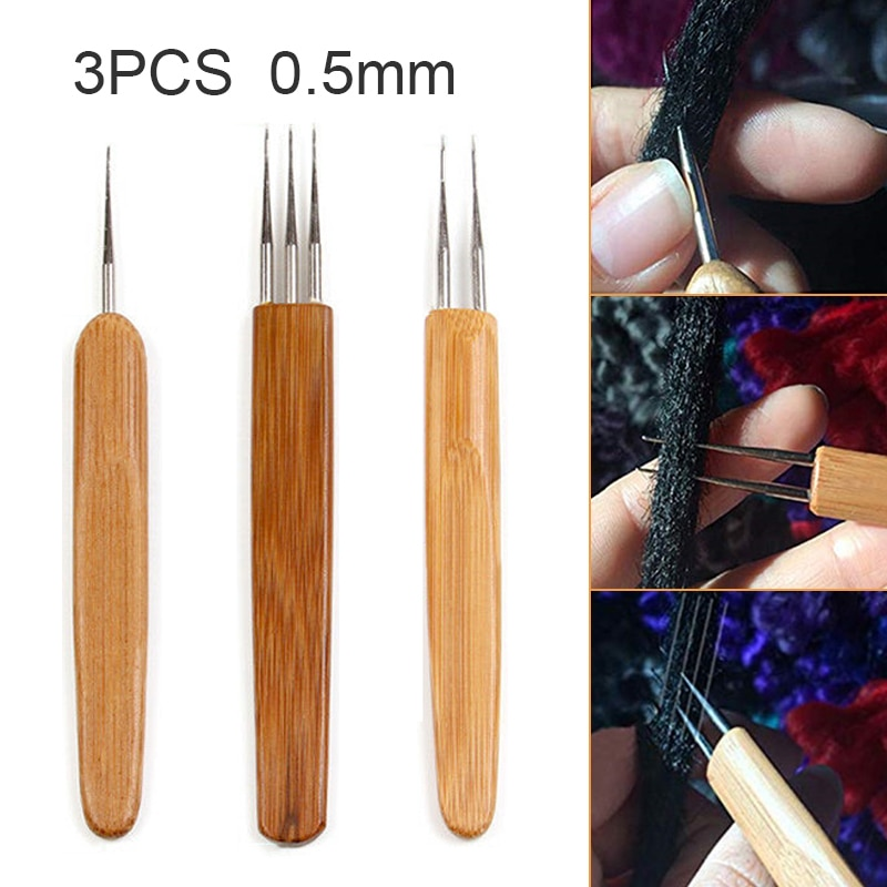 5pcs set latch hook crochet needle for wig braided wooden handle hair extension linking micro rings hook needle set styling tool 3pcs Latch Hook Crochet Needle Dreadlock Braid Hair Weaving Tool Bamboo Wooden Handle Dreadlock Braiding Hair Tool