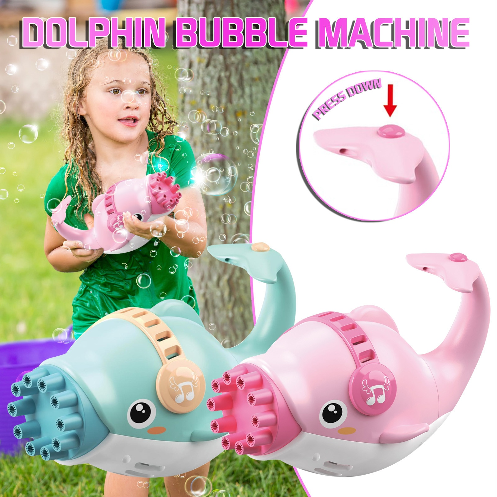 Dolphin Electric Bubble Maker, Bubble Machine Cute Toy , Whale Automatic Bubble Maker for Toddlers Boys, Girls, Outdoor Games