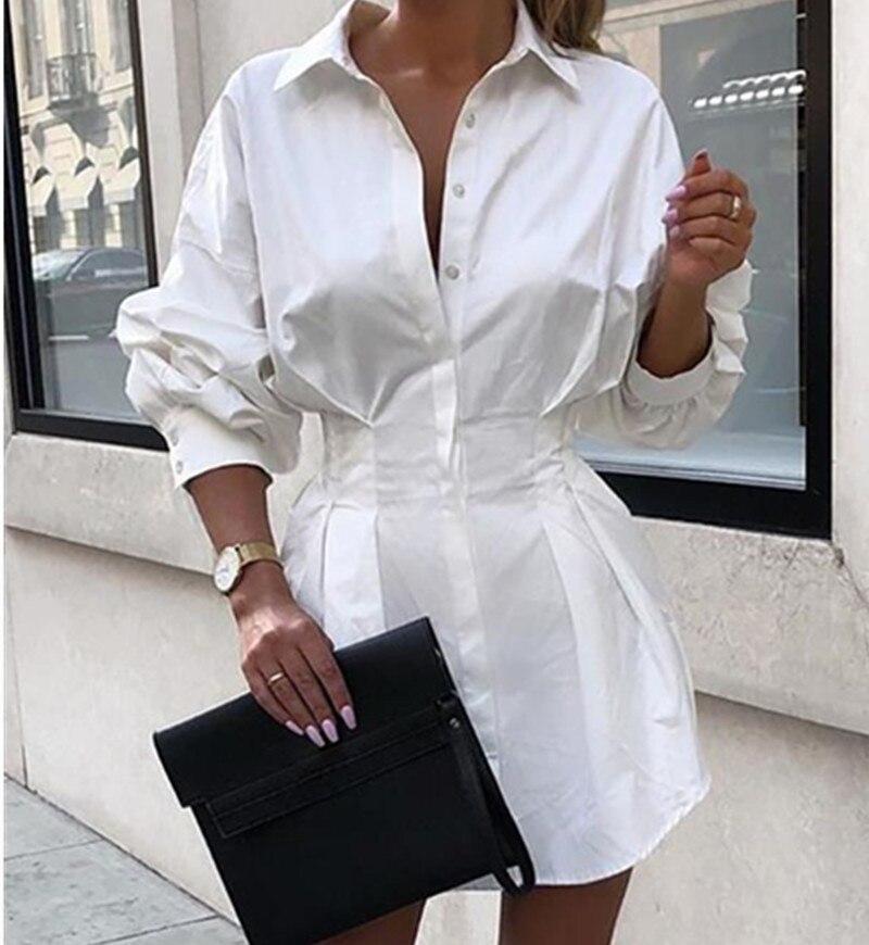 2019 Autumn Women White Shirt Dress Solid Long Sleeve Tight Waist Turn down Collar Shirt Dress Drop Shipping