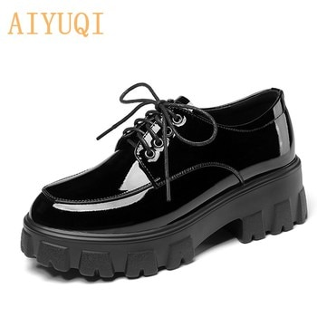 AIYUQI Women's Shoes Spring 2021 New British Style Thick-soled Lace-up Genuine Leather Comfortable Casual Ladies Single Shoes