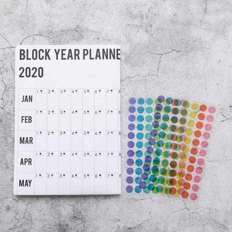 2020 año planificador diario calendario de pared de papel con 2 hojas EVA Mark pegatinas para oficina Escuela Hogar