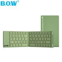 B.O.W Mini Bluetooth Keyboard Foldable Aluminum Metal Wireless Mini Keyboard Case for Tablet/iPad /iPhone 8 7