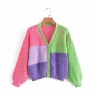 rainbow panelled v neck knit cardigan female 2021 autumn loose lantern sleeve sweater womens jacket casual short knitwear
