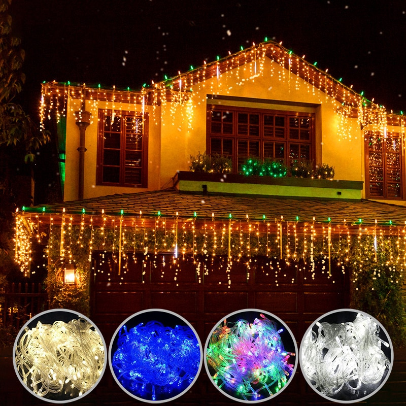 Christmas lights  led curtain icicle string lights 5M droop 0.4-0.6m waterfall outdoor decoration for party garden home wedding