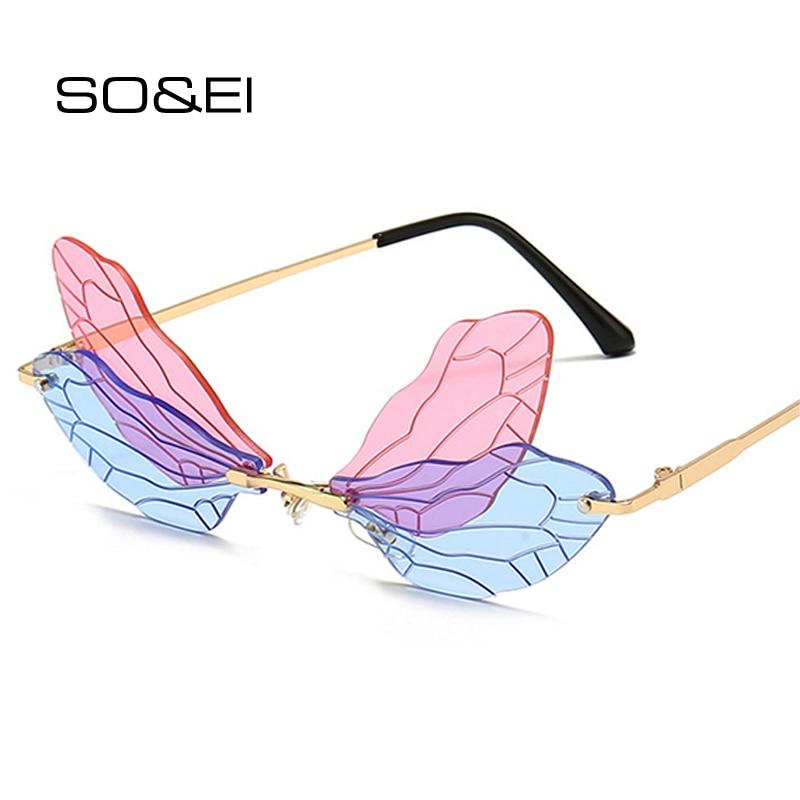 SO&EI Fashion Rimless Dragonfly Wing Sunglasses Women Vintage Clear Ocean Lens Eyewear Men Pink Yell