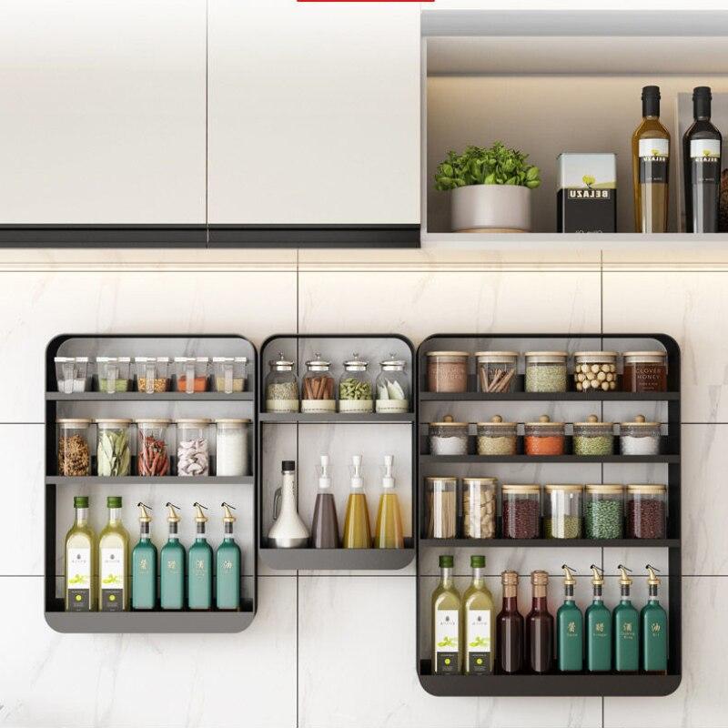 رف مطبخ رف التوابل جدار معلق حفرة خالية جدار متعدد الطبقات تخزين الرف تخزين التوابل المنزلية الرف