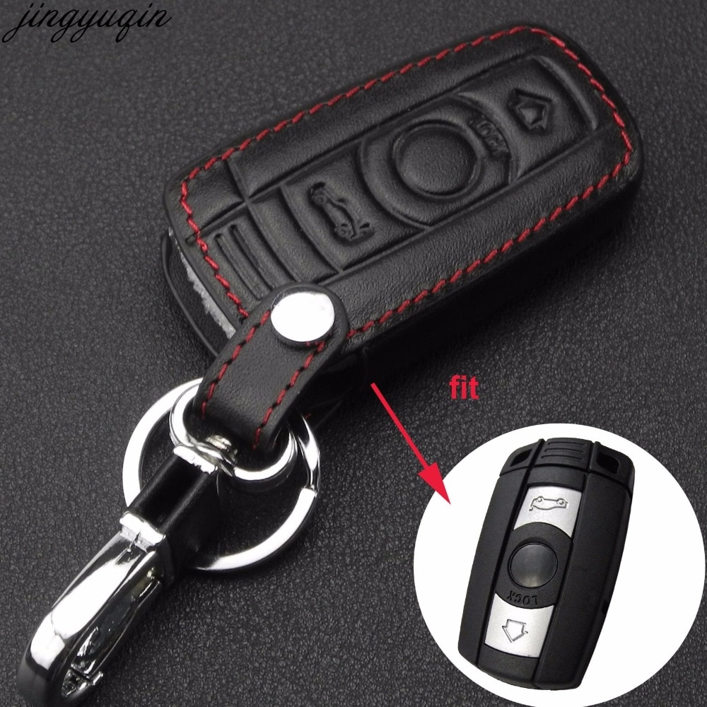 3 Button Leather Car Key Case Styling Cover For BMW 1 3 5 6 Series Car Key Shell Blade Fob E90 E91 E92 E60 Holder