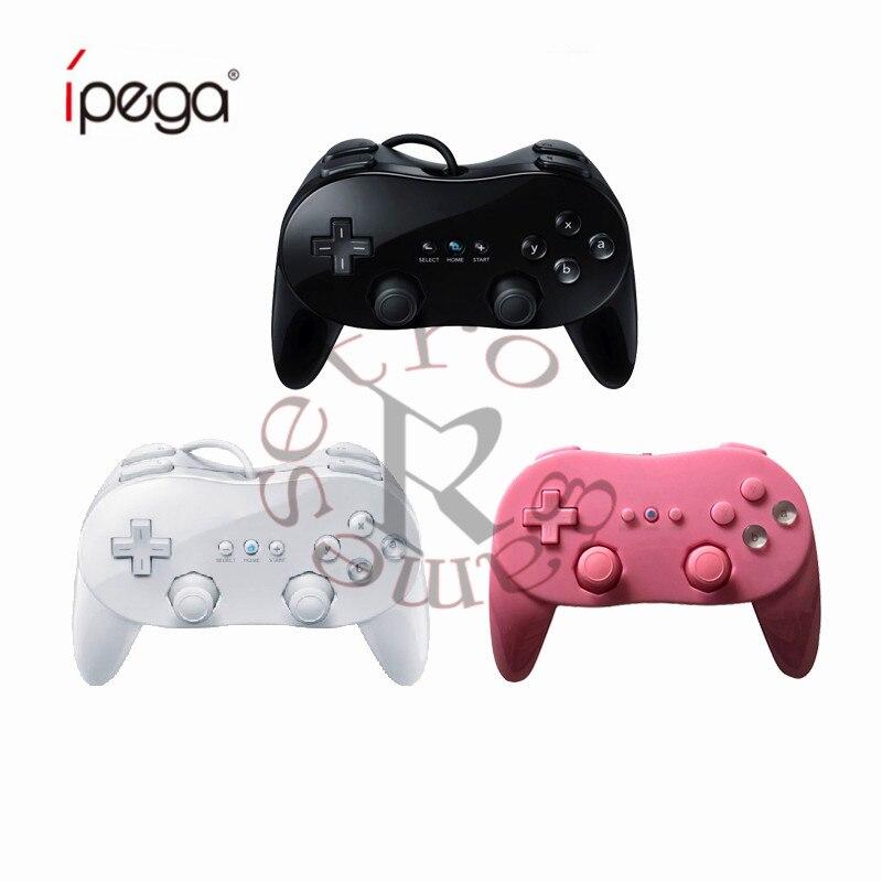 Controlador de juegos con cable clásico blanco/Negro/rosa, mando a distancia Pro para Nintendo Wii