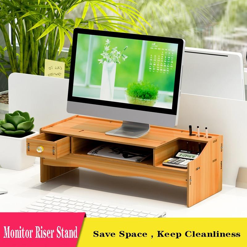 Подставка для монитора, 2-ярусная деревянная стойка для монитора с органайзером для хранения, эргономичная настольная подставка для монито...