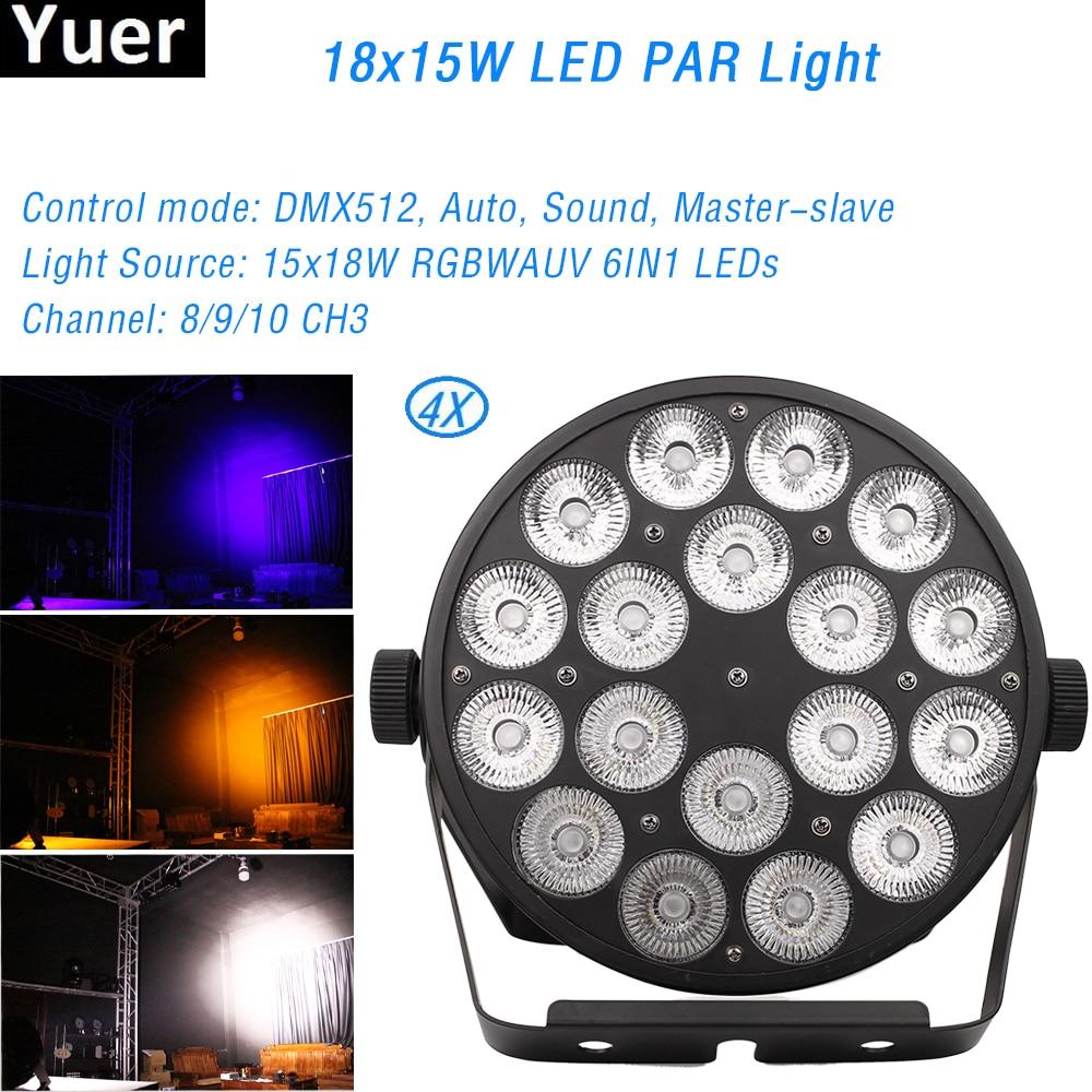 4 قطعة/الوحدة غسل Uplighting 18x15W LED الاسمية ضوء RGBWAUV 6IN1 شقة الاسمية LED DMX512 8/9/10 قنوات المرحلة DJ معدات ديسكو أضواء