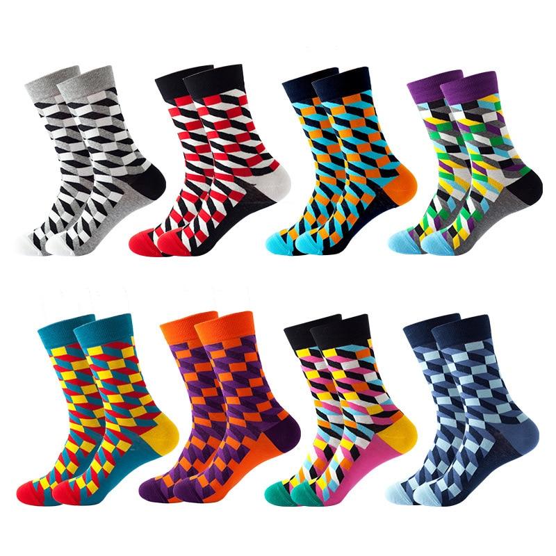 Men Fashion Happy Socks Fine Paragraph Diamond Pattern Argyle Three-dimensional Tube Geometric colorful Cotton Socks Combed недорого