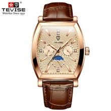 2021 Top Brand Luxury Tonneau Shape Men Sports Watches Black Steel Case Men's Quartz Date Clock Male