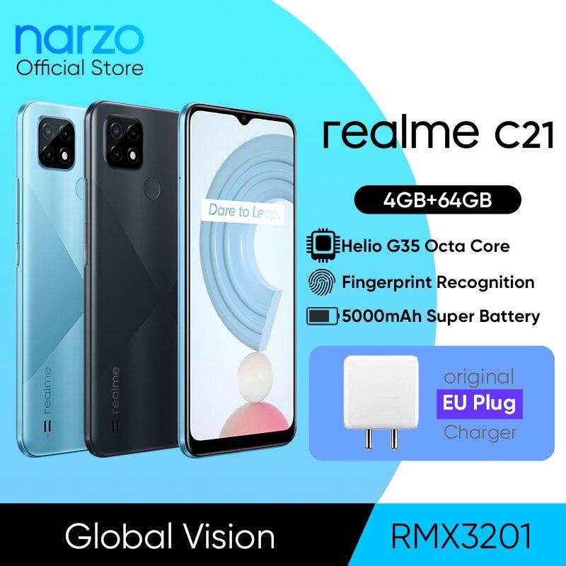 Перейти на Алиэкспресс и купить [Мировая премьера в наличии] глобальная версия realme C21 смартфон Helio G35 Octa Core 64 Гб 6,5 дюймЖК дисплей 5000 мАч батарея 3-слот для карт памяти