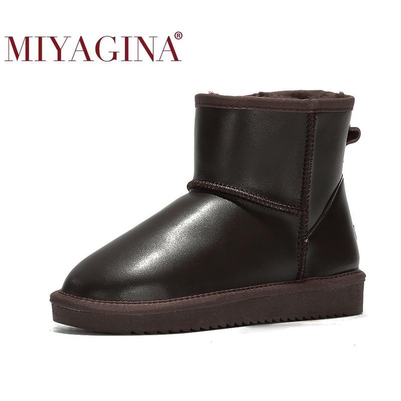 MIYAGINA 2021 موضة جديدة 100% جلود الأبقار الأصلية الثلوج أحذية أستراليا الكلاسيكية النساء أحذية الشتاء الدافئة أحذية للنساء