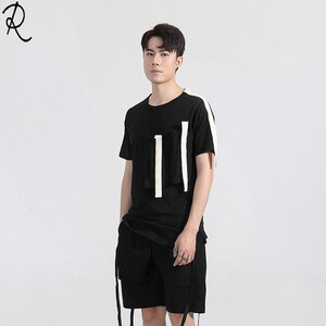 Fashion Men's summer dark department personality collision yarn-dyed Ribbon Patchwork Slim round-necked short-sleeved t-shirt me