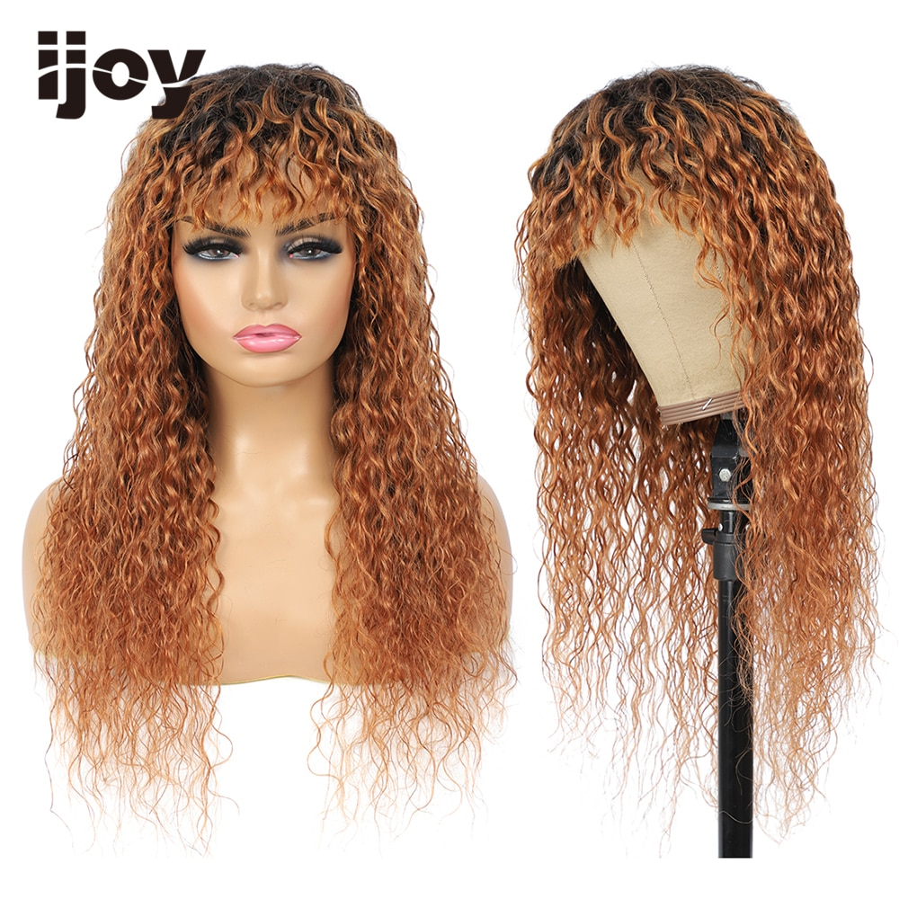 peruca de cabelo humano com franja onda de agua cabelo colorido ombre marrom caramelo