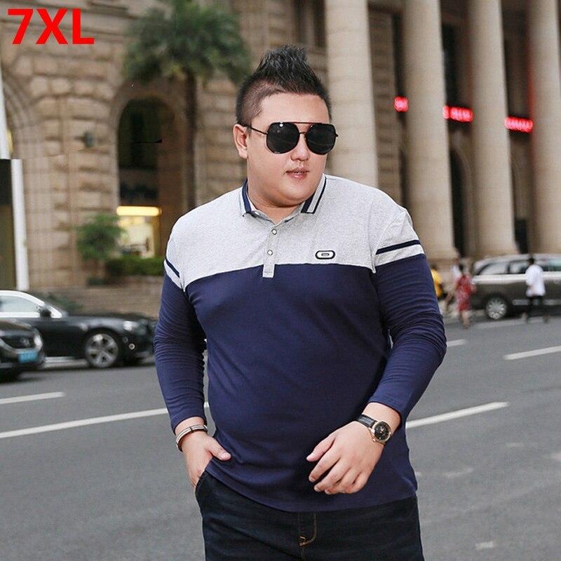 Осенняя мужская деловая Повседневная рубашка-поло большого размера плюс с отворотами и длинными рукавами, очень большой размер