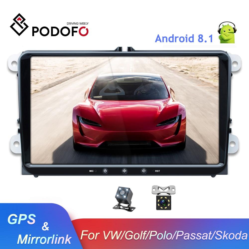 Podofo 9 android android android 8.1 carro multimídia player 2 din rádio do carro autoradio para vw/golf/polo/tiguan/passat/seat/leon/skoda/octavia