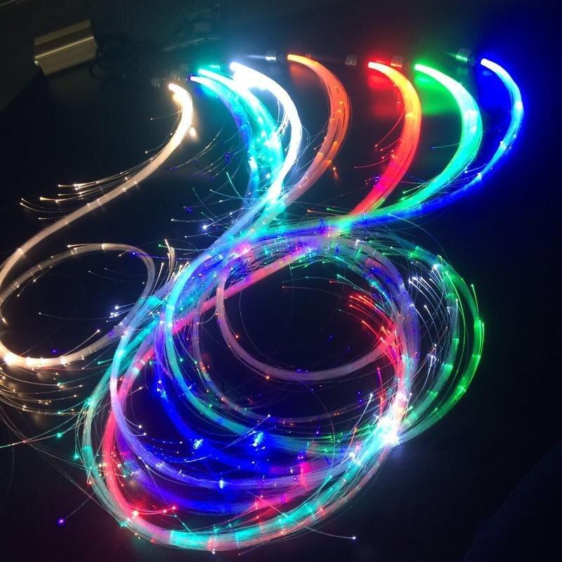 USB قابلة للشحن الملونة LED الألياف البصرية سوط الرقص سوط متوهجة اليد حبل فلاش سوط جو الدعائم لحزب مهرجان الرقص