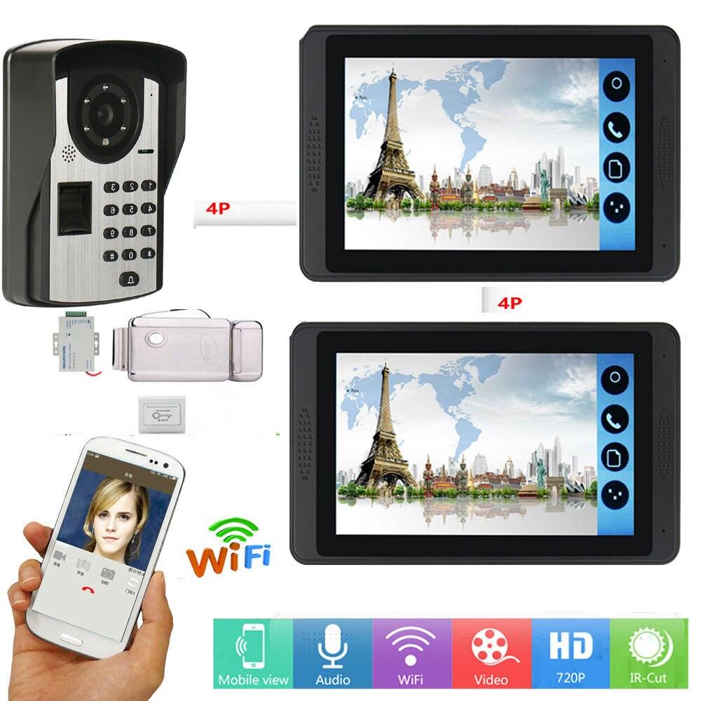 "7 ""TFT Color pantalla WIFI inalámbrico Video intercomunicador puerta teléfono timbre sistema con 1 cámara 2 Monitor para el hogar seguridad"