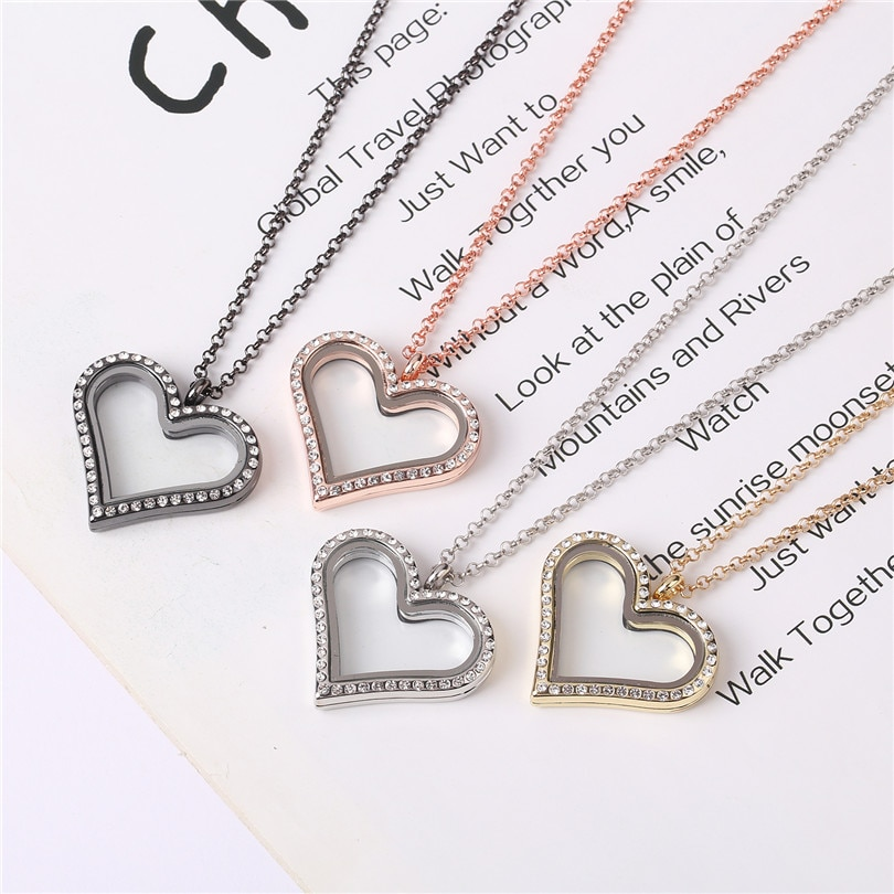 10 unids/lote corazón romántico con diamantes de imitación encantos flotantes medallón de cristal relicarios de memoria viva collar con cadenas de 60cm para mujeres