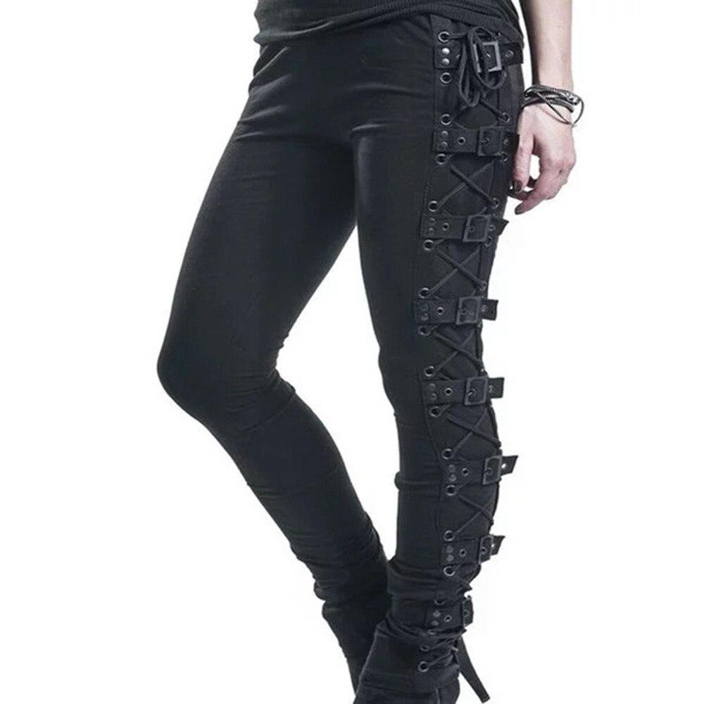 Rosetic Lace Up Casual Cargo Pants Women Buckle Gothic Punk Rock Dark Black Pantalons High Waist Pants Plus Size Trousers S-5XL