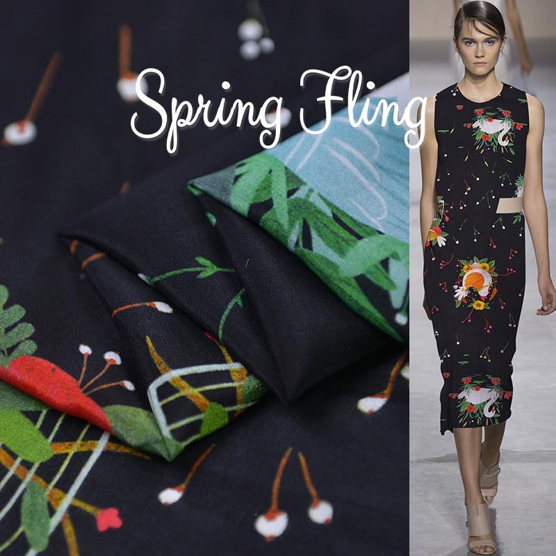 19 verano nuevo 140cm ancho 13momme 100% marca de seda tela china de crepé vestido de mujer Swan Cherry impreso tela Diy Venta caliente de costura