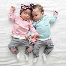 Neugeborenen Baby Junge Mädchen T shirt Tops + Hosen 2PCS Outfits Kleidung Set Jungen Kleidung Vetement Enfant Fille Roupa infantil Kinder Anzug