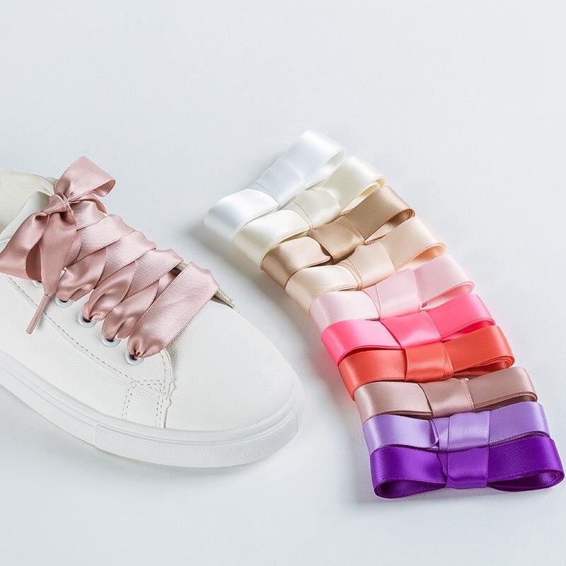 Cordones de seda satinada, 1 par, 2 CM de ancho, planos, zapato con cinta de encaje, botas, zapatillas de deporte para mujer, cordones de 22 colores 80CM de longitud 100CM 120CM