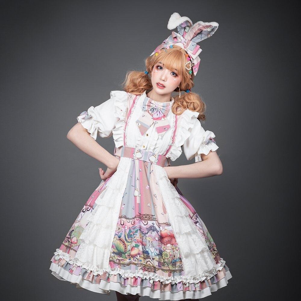 Kawaii Girls Lolita Dress Vintage Short Sleeve Lace Bowknot Anime Op Dress High Waist Victorian Lolitas Gothic Fashion Sweet Op