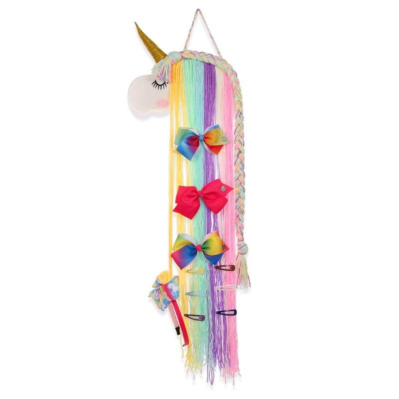 Organizador de unicornios para almacenamiento de pelo, pinzas para el pelo, cinta organizadora de tocado, lazos de pelo de pared, cinturón de almacenamiento, accesorios para el pelo de niñas