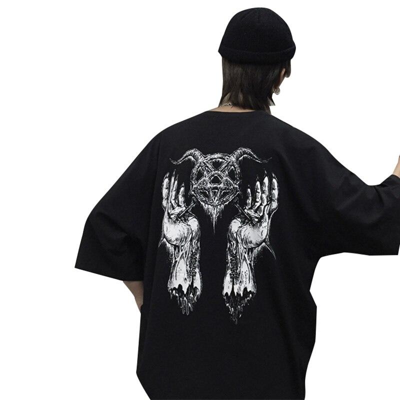 Lychee Harajuku Teufel Stern Hand Druck Frauen T-shirt Lose Dame T-shirt Sommer Top Tees Crew Neck Kurzarm Frauen t-shirts