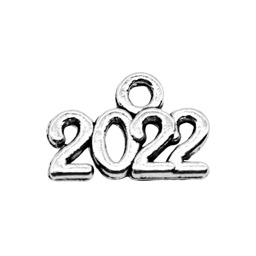 20 pcs Charms Année Numéro 2022 Antique Argent Couleur Alliage DIY Fabrication de Bijoux Accessoires 9x14mm