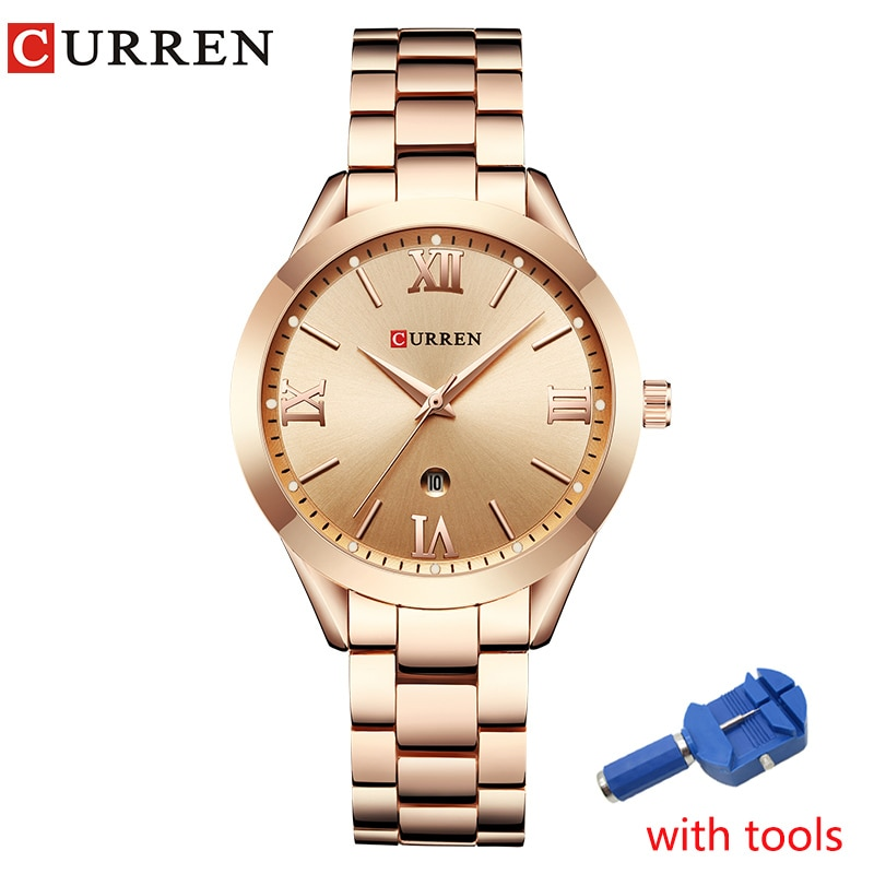 CURREN Watch Women Full Steel Rose Gold Ladies Dress Wristwatch Bracelet Fashion Women's Quartz Watches Clock bayan kol saati