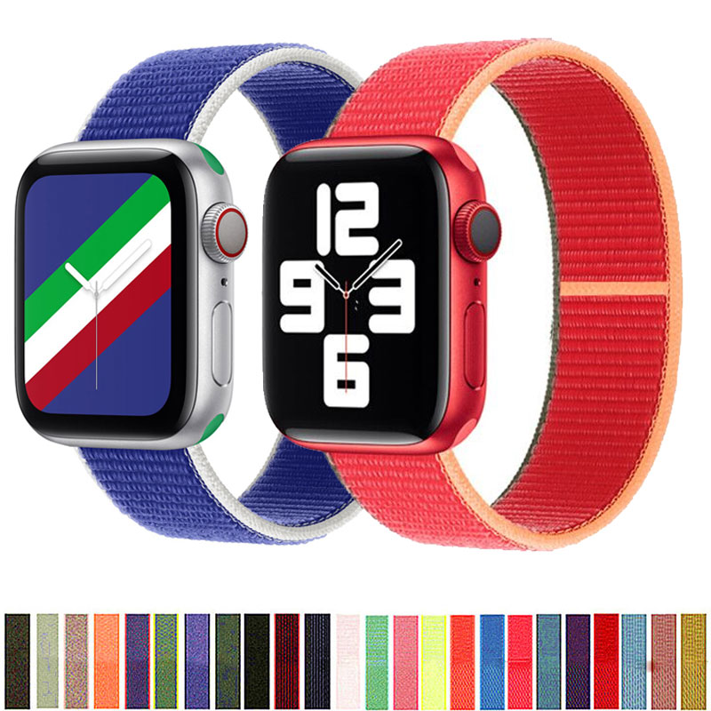 bumvor sport woven nylon band strap for apple watch 40 44mm 42 38mm wrist braclet belt fabric like for iwatch 4 3 2 1 edition Nylon Strap for Apple Watch 44mm 40mm 42mm 38mm Sport loop band iwatch 1 2 3 4 5 6 bracelet belt correa for apple watch SE strap