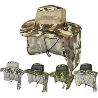 outdoor fishing hat wide brim man breathable mesh fishing cap beach hats camouflage sun uv protection shade hat