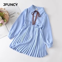 jfuncy baby girls clothes dress new girl ruches bowtie long sleeve costumes childrens clothing party sweet children dresses