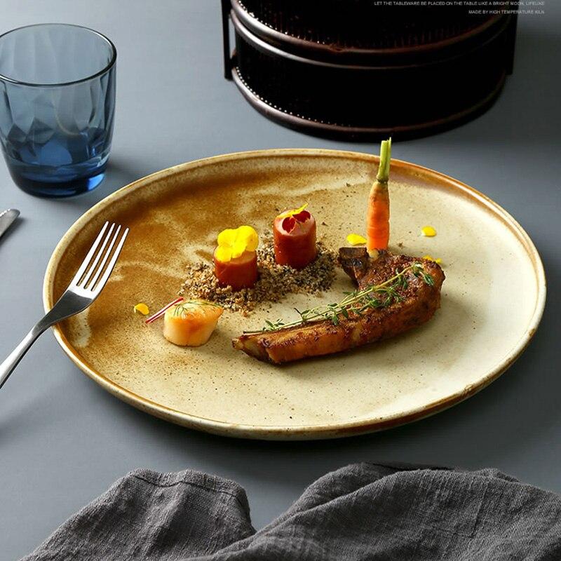 الإبداعية مخطط المائدة مستديرة السيراميك الغربية لوحة طبق ستيك طبق الإفطار كعكة شقة المعكرونة لوحة طبق تقديم الحلوى
