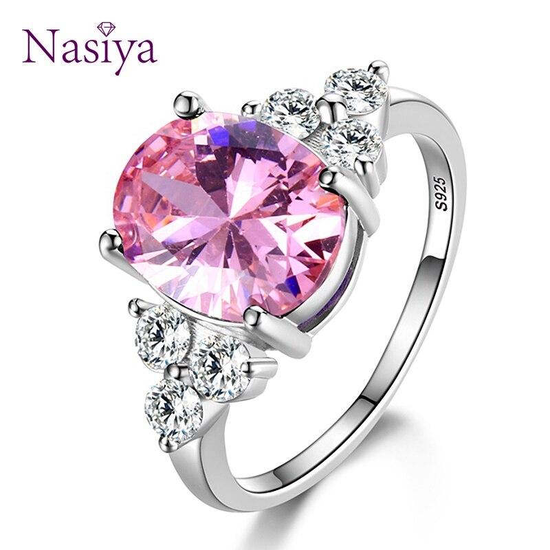 Joyería para mujer, anillos de plata de ley 925, anillo de boda ovalado de color blanco, rosa, azul claro, champán y circonita