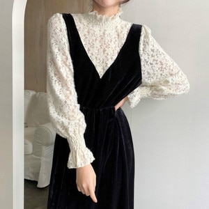 2021 Chic New Women's Lace Patchwork Velvet Dress Puff Sleeve Stand Collar Fashion Elegant Dresses Cute Kawaii Mid-calf Vestido