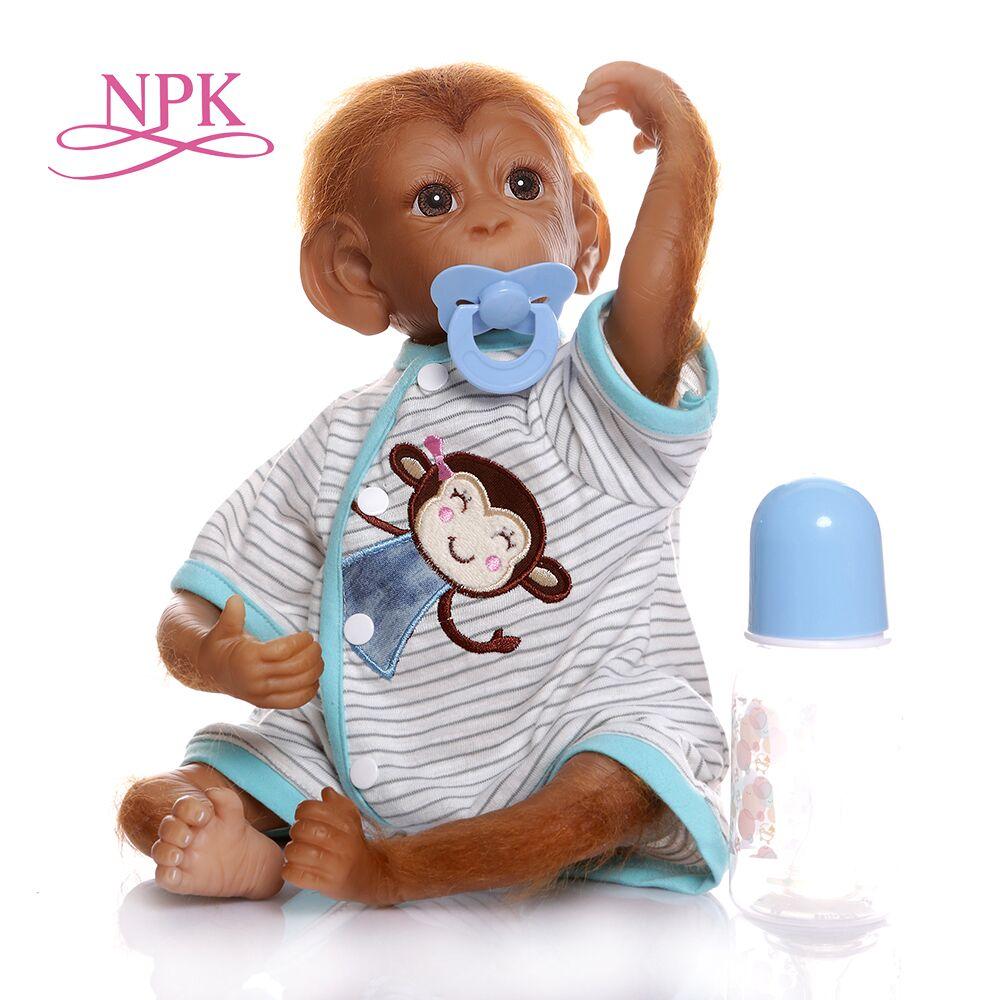 46CM NPK hechos a mano nuevos pintura muy detallada reborn premie baby Monkey orangutanes coleccionables de alta calidad correa flexible