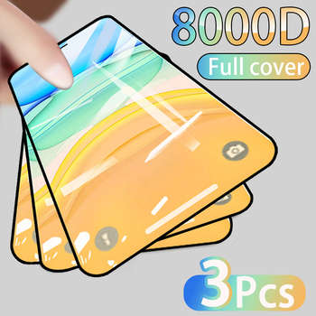 3PCS Full Cover Protective glass on For iPhone 11 12 Pro Max tempered Glass Film iPhone X XR XS Max Screen Protector Curved Edge